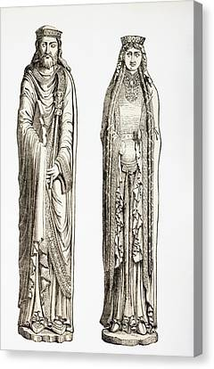 Statues Of King Clovis I And His Wife Canvas Print by Vintage Design Pics