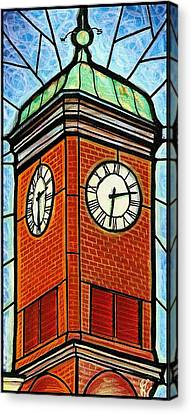Canvas Print featuring the painting Staunton Clock Tower Landmark by Jim Harris