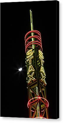 Stax Records Tower And Moon Canvas Print by Stephen Stookey