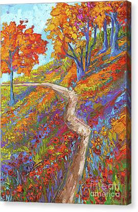 Stay On The Path - Modern Impressionist, Landscape Painting, Oil Palette Knife Canvas Print by Patricia Awapara