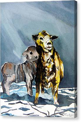 Staying Warm Canvas Print by Mindy Newman