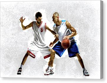 Steal The Basketball Canvas Print by Elaine Plesser