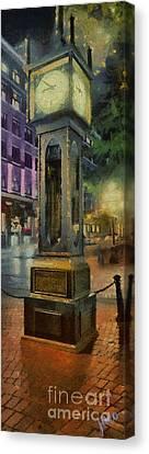 Canvas Print featuring the digital art Steam Clock Gastown by Jim  Hatch
