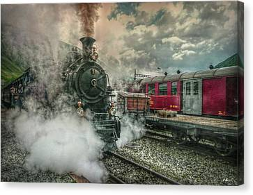 Canvas Print featuring the photograph Steam Engine by Hanny Heim