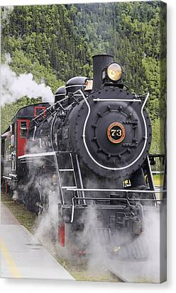 Skagway Canvas Print - Steam Locomotive  73 At Downtown Depot by Harry M. Walker