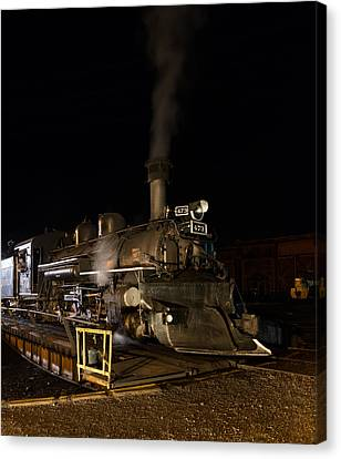 Canvas Print featuring the photograph Locomotive And Coal Tender On A Turntable Of The Durango And Silverton Narrow Gauge Railroad by Carol M Highsmith