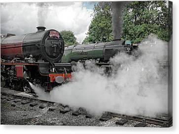 Steam Locomotive Drama Canvas Print by David Birchall