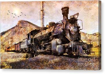 Canvas Print featuring the digital art Steam Locomotive by Ian Mitchell