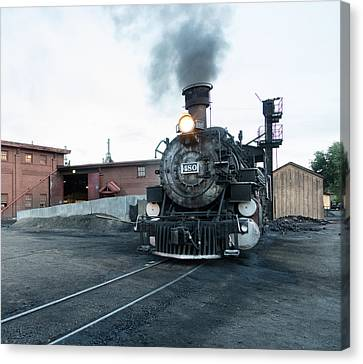 Canvas Print featuring the photograph Steam Locomotive In The Train Yard Of The Durango And Silverton Narrow Gauge Railroad In Durango by Carol M Highsmith