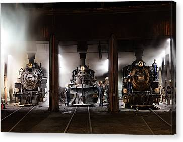 Canvas Print featuring the photograph Steam Locomotives In The Train Yard Of The Durango And Silverton Narrow Gauge Railroad In Durango by Carol M Highsmith