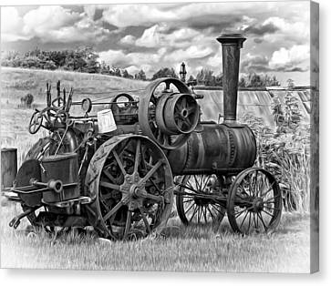 Steam Powered Tractor - Paint Bw Canvas Print by Steve Harrington