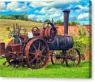 Steam Powered Tractor - Paint Canvas Print by Steve Harrington