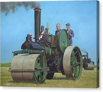 Steam Roller Traction Engine Canvas Print by Martin Davey