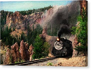 Canvas Print featuring the photograph Steam Through The Rock Formations by Ken Smith