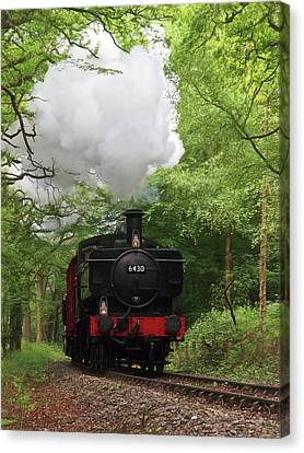 Steam Train Approaching In The Forest Canvas Print by Gill Billington