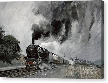 Steam Train At Garsdale - Cumbria Canvas Print by John Cooke