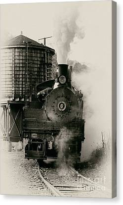 Antique Ironwork Canvas Print - Steam Train by Jerry Fornarotto