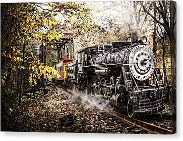Steam Train's Coming Canvas Print by Debra and Dave Vanderlaan