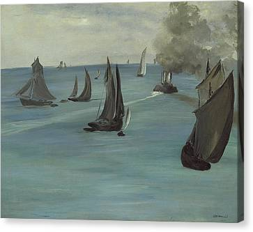 Steamboat Leaving Boulogne Canvas Print by Edouard Manet