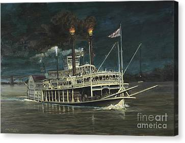 Steamboat On Mississippi Canvas Print by Don Langeneckert