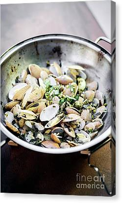 Steamed Fresh Moules Mussels In Garlic Lemon And Olive Oil Canvas Print by Jacek Malipan