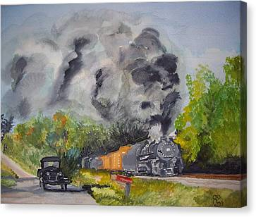 Steaming Along Canvas Print