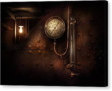 Steampunk - Boiler Gauge Canvas Print by Mike Savad
