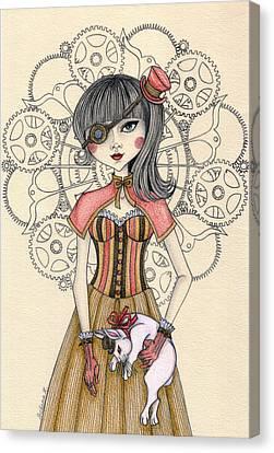 Steampunk Alice And The White Rabbit Canvas Print by Snezana Kragulj