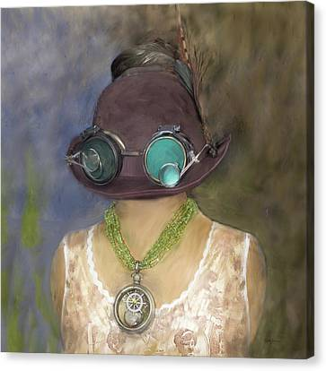 Steampunk Beauty With Hat And Goggles - Square Canvas Print