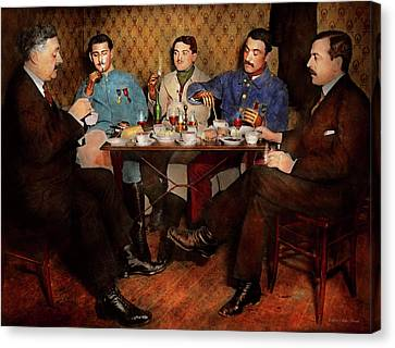 Canvas Print featuring the photograph Steampunk - Bionic Three Having Tea 1917 by Mike Savad