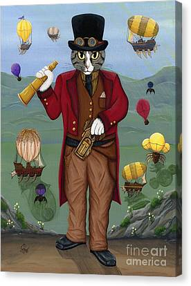 Steampunk Cat Guy - Victorian Cat Canvas Print