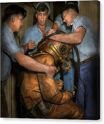 Steampunk - Diver - A Load Off My Shoulders 1936 Canvas Print by Mike Savad