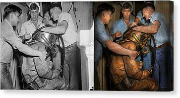 Steampunk - Diver - A Load Off My Shoulders 1936 - Side By Side Canvas Print by Mike Savad