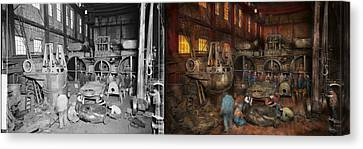 Steampunk - Final Inspection 1915 - Side By Side Canvas Print by Mike Savad