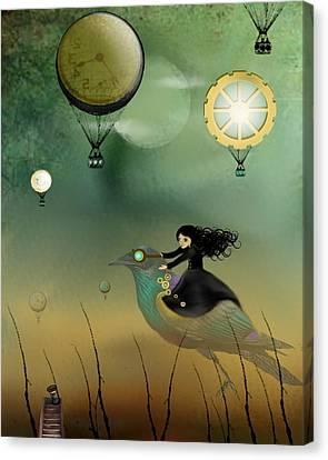 Goth Girl Canvas Print - Steampunk Flight Of Fantasy by Charlene Zatloukal