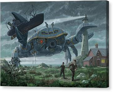 Canvas Print - Steampunk Giant Crab Attacks Lighthouse by Martin Davey