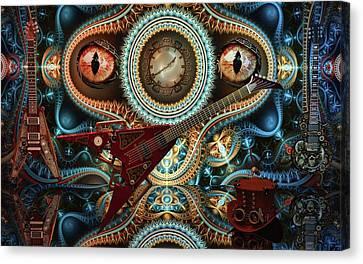 Canvas Print featuring the digital art Steampunk Guitar by Louis Ferreira