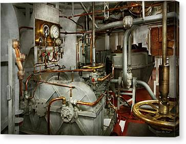 Canvas Print featuring the photograph Steampunk - In The Engine Room by Mike Savad