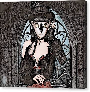 Steampunk Kitty By Artful Oasis Canvas Print