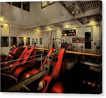 Canvas Print featuring the photograph Steampunk - Man The Controls 1908 by Mike Savad