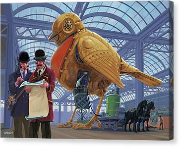 Canvas Print featuring the digital art Steampunk Mechanical Robin Factory by Martin Davey