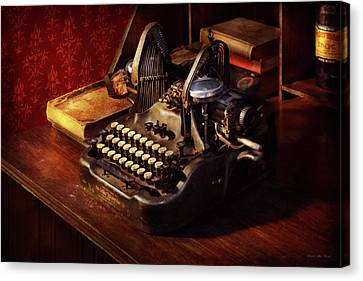 Steampunk - Oliver's Typing Machine Canvas Print by Mike Savad