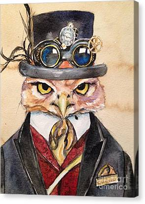 Canvas Print featuring the painting Steampunk Owl Mayor by Christy  Freeman