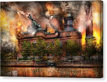 Steampunk - The War Has Begun Canvas Print by Mike Savad