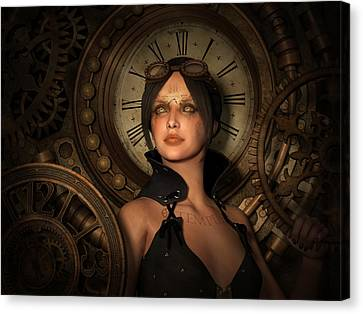 Steampunk Time Keeper Canvas Print by Britta Glodde