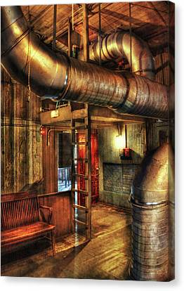 Steampunk - Where The Pipes Go Canvas Print by Mike Savad
