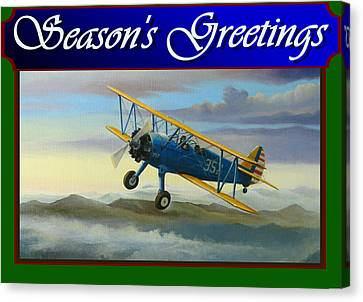 Stearman Christmas Card Canvas Print by Stuart Swartz