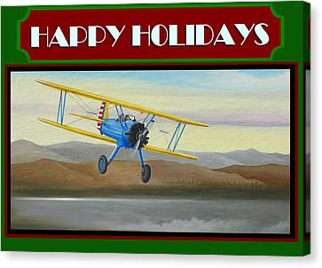 Stearman Morning Flight Christmas Card Canvas Print by Stuart Swartz