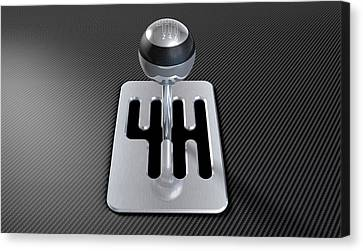 Steel And Chrome Stick Shift Canvas Print by Allan Swart