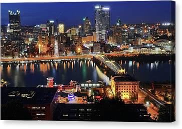 Steel City At Blue Hour Canvas Print by Frozen in Time Fine Art Photography